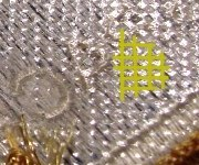 Plastic coating with fine square grid of indentations on Lion Brothers patch