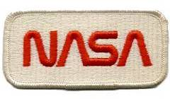 Red on white NASA worm logotype patch